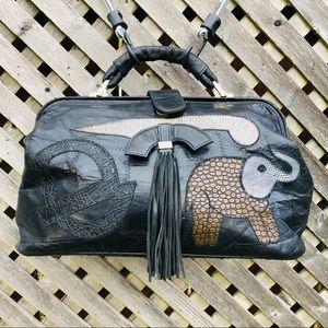 Vintage BPC Design Elephant Patchwork Leather Bag